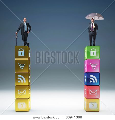 businesspeople on  abstract cubes and icon set