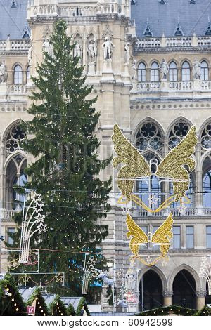 Christmas decoration in front of city hall of Vienna, Austria