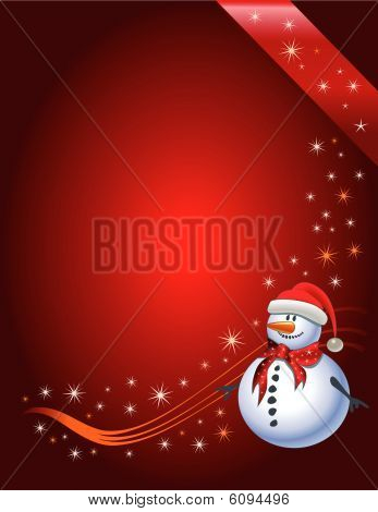 Snowman with Santa Claus hat