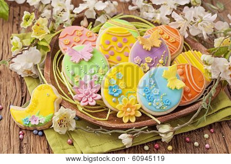 Colorful easter cookies on a plate