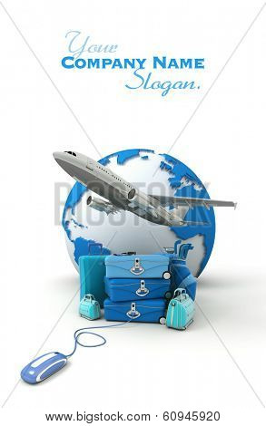 The Earth, a plane taking off, a pile of luggage including suitcases, briefcases, golf bag, connected to a computer mouse in blue shades