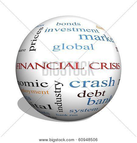 Financial Crisis 3D Sphere Word Cloud Concept