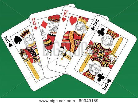Four Kings playing cards on a green background. Each card is full and isolated