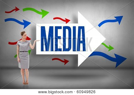 The word media and woman in a dress holding her hand up against arrows pointing