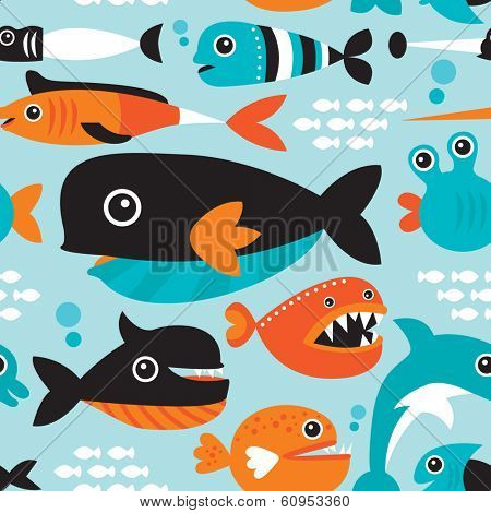 Seamless funny kids fish types swimming in the ocean illustration background pattern in vector