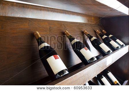 Closeup shot of wine shelf