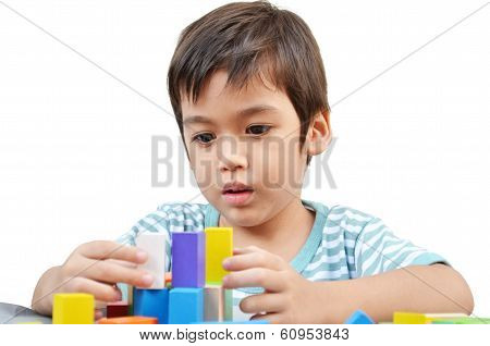 Little Boy Play Block