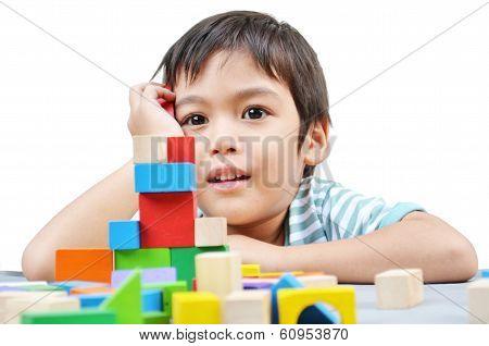 Little Boy Play Block