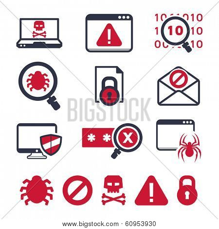 Digital criminal icons set