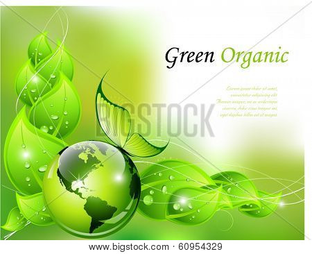 Green organic background - vector illustration