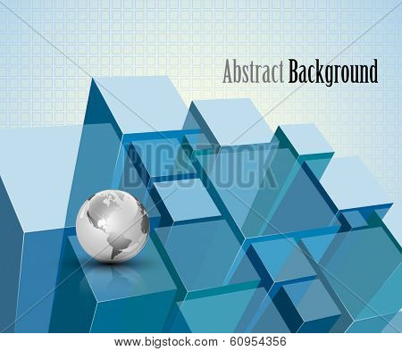 3d blue transparent crystal modules abstract background - vector illustration