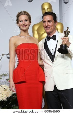 LOS ANGELES - MAR 2:: Jennifer Lawrence, Matthew McConaughey  in the press room at the 86th Annual Academy Awards on March 2, 2014 in Los Angeles, California