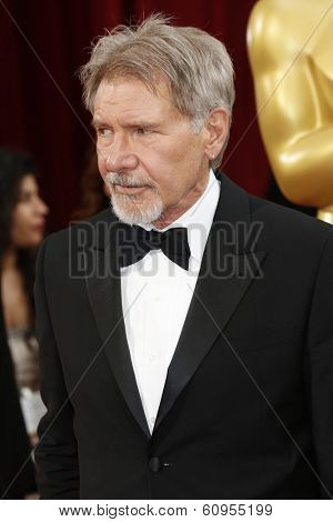 LOS ANGELES - MAR 2:: Harrison Ford  at the 86th Annual Academy Awards at Hollywood & Highland Center on March 2, 2014 in Los Angeles, California