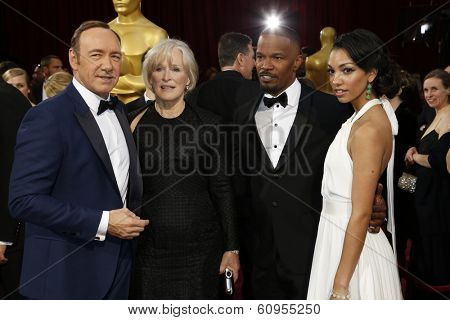 LOS ANGELES - MAR 2:: Kevin Spacey, Glenn Close, Jamie Foxx, Corinne Bishop  at the 86th Annual Academy Awards at Hollywood & Highland Center on March 2, 2014 in Los Angeles, California