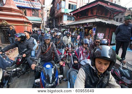 KATHMANDU, NEPAL - DEC 1, 2013: Traffic jam in one of a busy street in the city center. With an area of �?�¢??�?�¢??50.67 km in Kathmandu city is home to more than 1 million people.