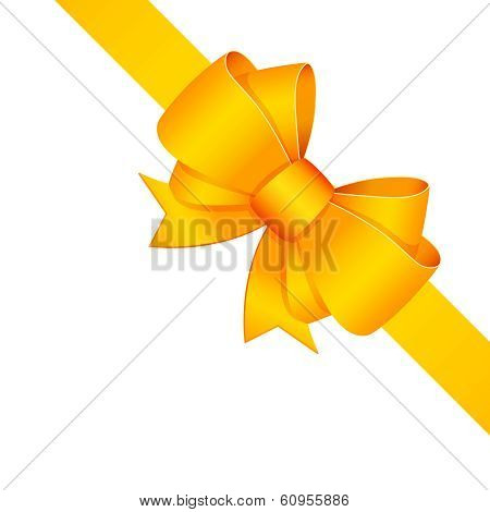 Yellow decorative bow with ribbon isolated