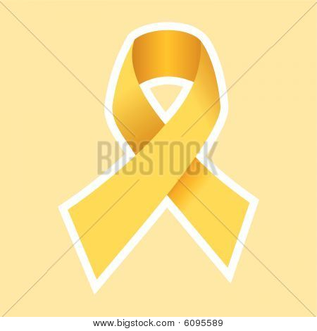 Cancer Ribbon in Gold. Yellow Background