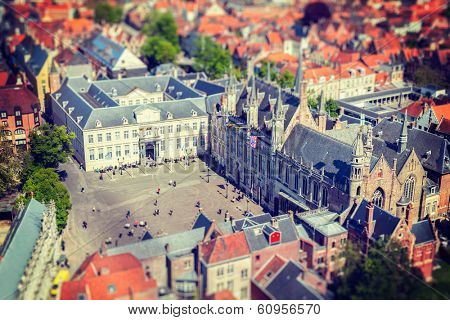 Vintage retro hipster style travel image of aerial view of the Burg square with the City Hall. Bruges (Brugge) , Belgium