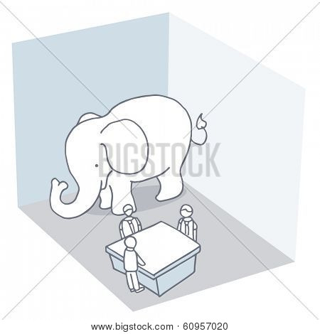 An image of an elephant in the room metaphor.