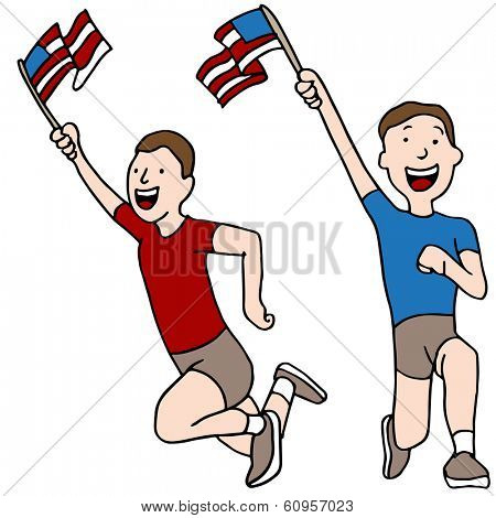 An image of patriotic runners.