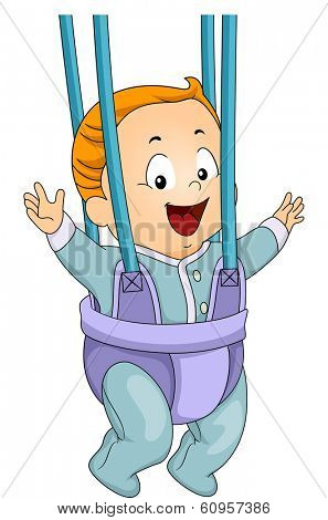 Illustration of a Happy Baby Boy Wearing a Door Bouncer