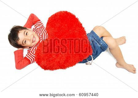 Little Boy Lay Down With Pillow Heart