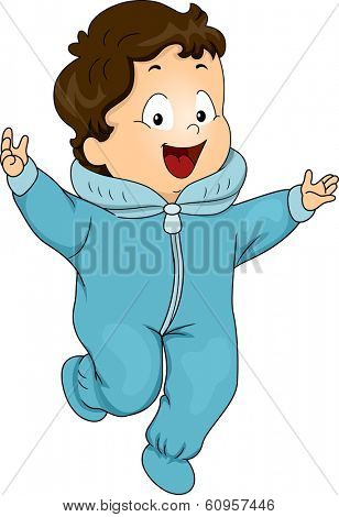 Illustration of a Happy Baby Boy Wearing a Winter Onesie