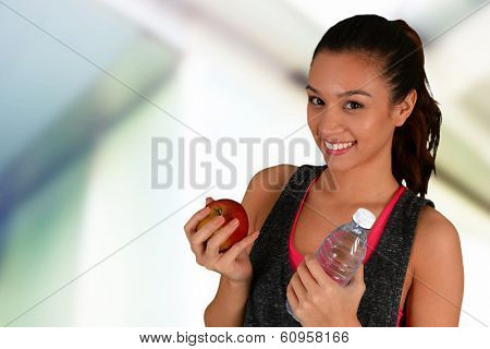 Woman eating healthy food after a workout
