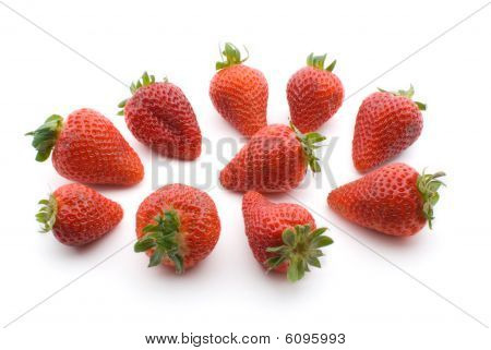 Fresh Red Strawberries Isolated on White Backgound