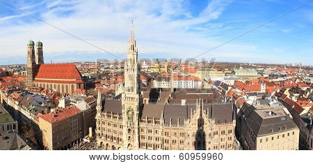 Munich, Gothic City Hall And Frauenkirche At Marienplatz, Bavaria, Germany
