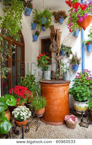 Courtyard with Flowers decorated and Old Well - Cordoba Patio Fest, Spain, Europe