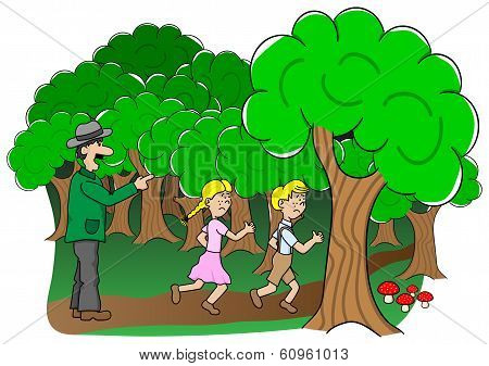 Children Are Abandoned By Their Father In The Forest