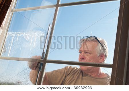 Man washing windows