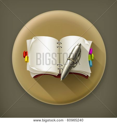 Notebook with pen, long shadow vector icon