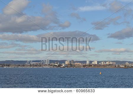 View of Cardiff Bay from across the water