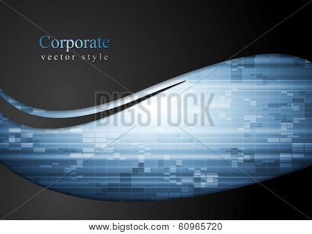 Abstract tech waves vector background