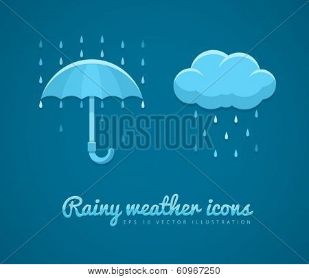 Flat icons of rainy weather with cloud rain drops and umbrella. Eps10 vector illustration