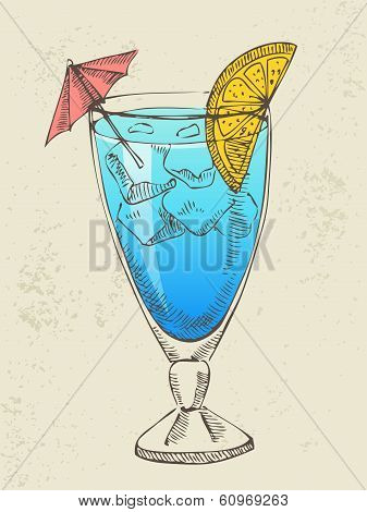 Hand drawn illustration of blue cocktail.