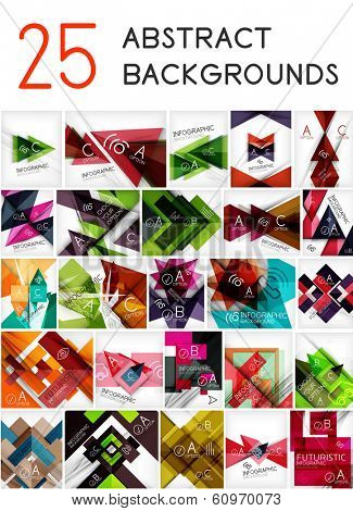 Mega set of paper geometric backgrounds - 25 design templates. For business background | numbered banners | business lines | graphic website