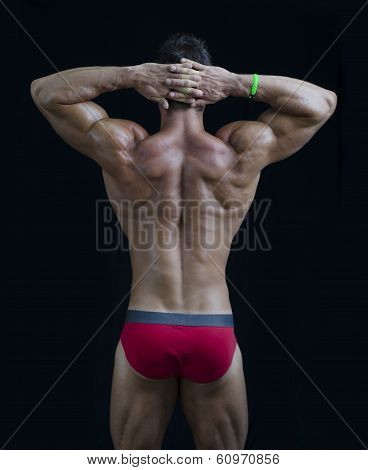 Young Muscular Bodybuilder's Back, Hands Behind His Head