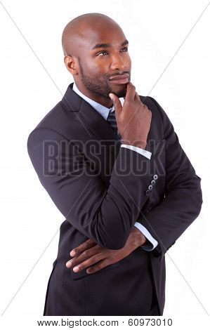 Portrait Of A Young African American Business Man Thinking