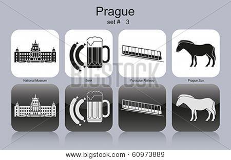 Landmarks of Prague. Set of monochrome icons. Editable vector illustration.