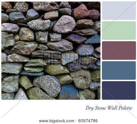 Detail of an old dry stone wall in a colour palette,  with complimentary colour swatches.