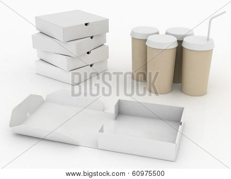 White boxes for pizza and white  containers for cola with tubule. 3d illustration on a white background