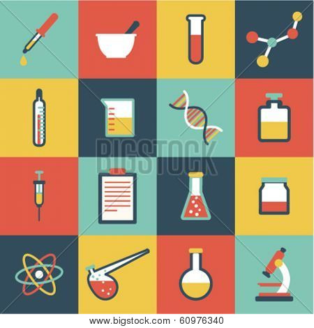 set of flat science icons