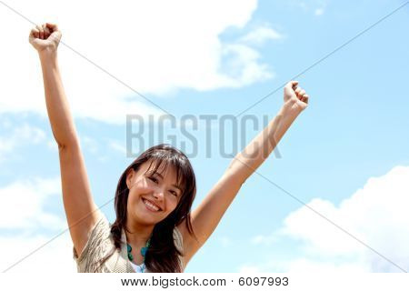 Excited Woman Outdoors