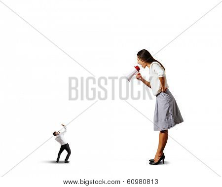 big emotional woman shouting at small scared man. isolated on white background