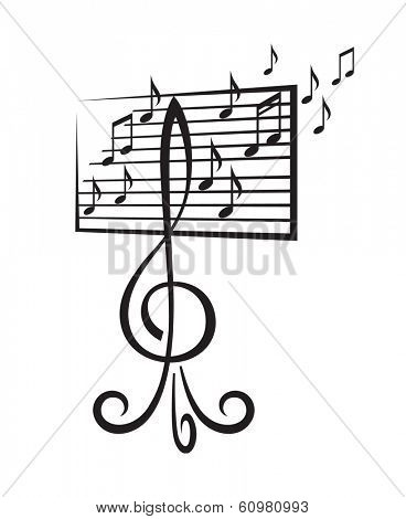music stand in the form of a treble clef