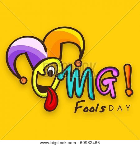 Happy Fool's Day funky concept with colorful text on bright yellow background.