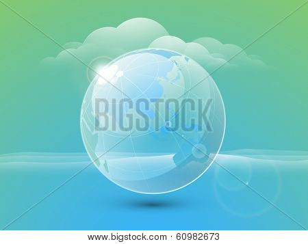 World water day concept with beautiful blue globe on green and blue background.